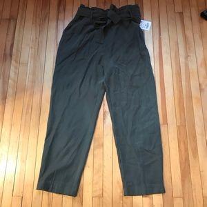 New ZARA paper bag pants Large green